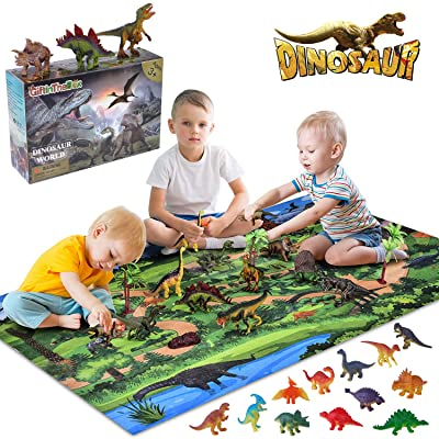 Giftinthebox Dinosaur Toys, Large 31.5 x 47.3 Inch Play Mat with 21 Realistic Looking Dinosaurs Including T-Rex, Triceratops, Velociraptor, Great Gifts for Kids 3 Year Olds and Up: Toys & Games [5Bkhe1404286]