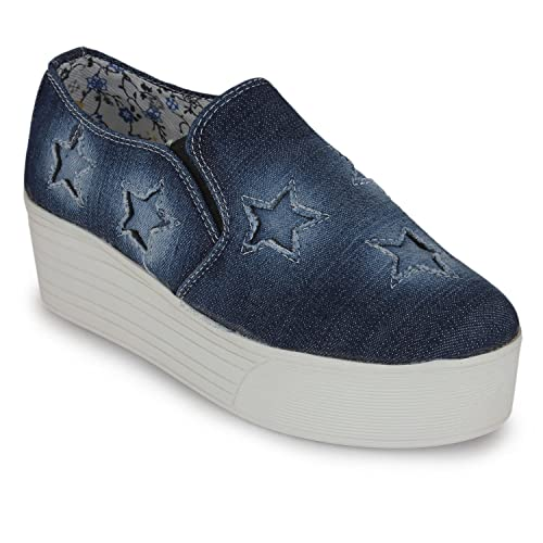 3b9128b8b02a53 Scantia Women s Girls Blue Canvas Loafers Shoes 9  Buy Online at Low ...
