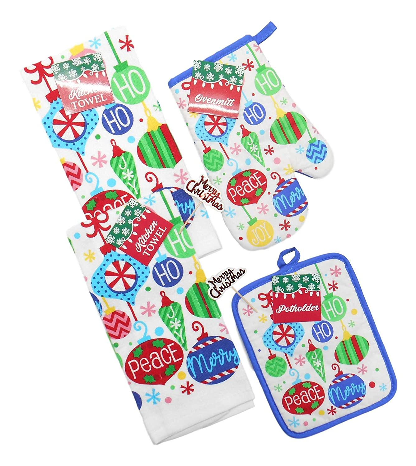 "Holiday Christmas Dish Towels Set Includes 2 Kitchen Towels, 1 Pot Holder, 1 Oven Mitt and 2"" Merry Christmas Picks (Festive Ornaments)"
