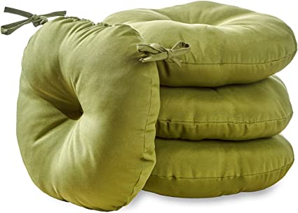 Set of 2 South Pine Porch AM5816S2-HUNTER Solid Summerside Green 15-inch Round Outdoor Bistro Chair Cushion