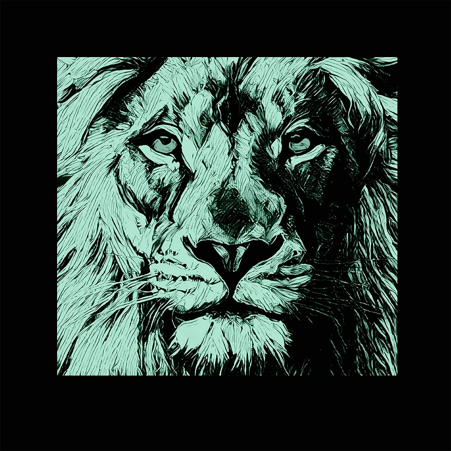 Amazon Com Startonight Canvas Wall Art Black And White Abstract Lion Draw Blue Eyes Animals Jungle Framed Wall Art 32 By 32 Inches Posters Prints