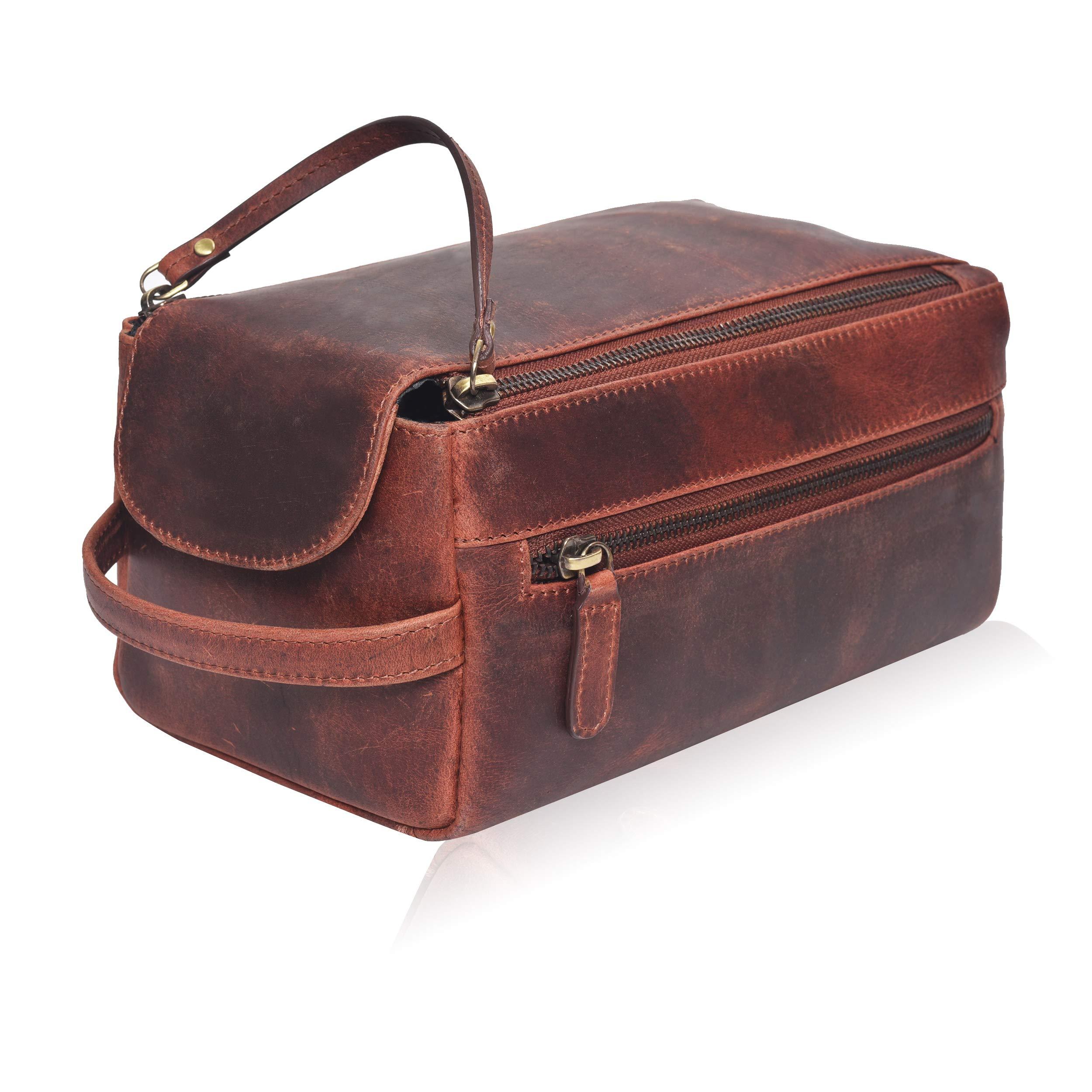 Leather Toiletry Bag for Men - Mens Dopp Kit Bathroom Shaving Bags Travel Case Hanging Hygeine Men's Toiletries (Brown Hunter Crazy Horse Traditional)