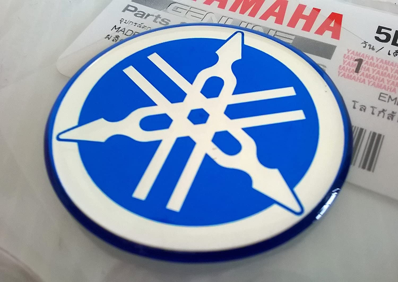 Yamaha 5LN-F313B-09-BU - Genuine 40MM Diameter Yamaha Tuning Fork Decal Sticker Emblem Logo Blue Raised Domed Gel Resin Self Adhesive Motorcycle/Jet Ski/ATV/Snowmobile