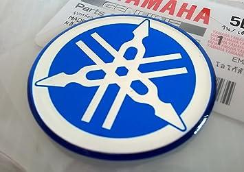 100 GENUINE 40mm Durchmesser YAMAHA STIMMGABEL Aufkleber Sticker Emblem Logo BLAU Erhoht Gewolbt Gel Harz