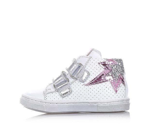 PANDA - Chaussure blanche en cuir, made in Italy, au style moderne, côtés avec un motif perforé, fille, filles-22