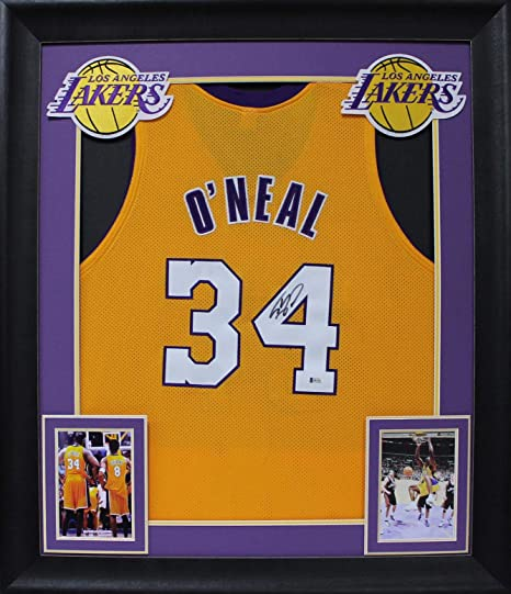 587ef34ef Lakers Shaquille O Neal Signed   Framed Yellow Jersey Signed on  3 ...