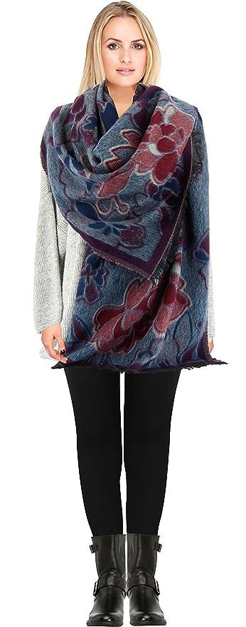 8602bdca7c32 Charleselie94® - écharpe longue châle étole plaid laine hiver bordeaux  KAMILA BORDEAUX  Amazon.fr  Vêtements et accessoires