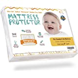 "Waterproof Crib Mattress Protector Pad Cover - Ultra-Soft Bamboo, Fitted Sheet with Large 9"" Skirt - Quilted, Washer/Dryer Friendly with Stain Protection for Baby Bed"