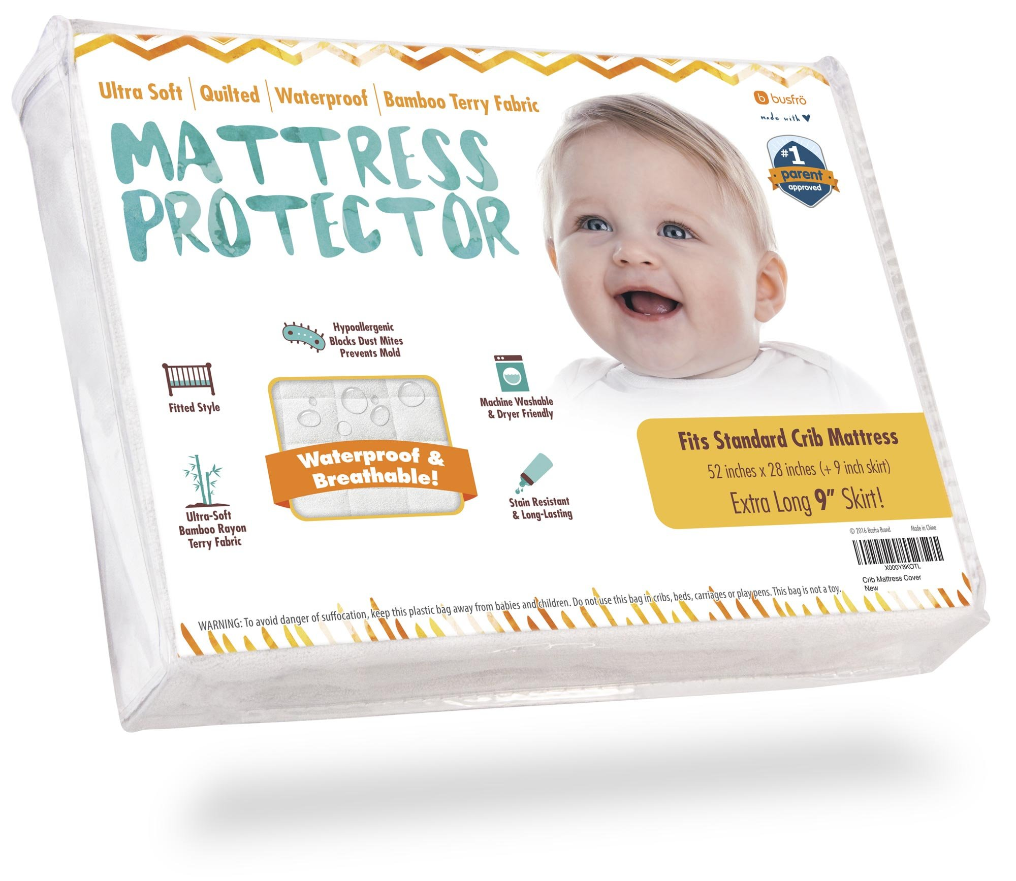 """Crib Mattress Protector - Waterproof Pad Cover, Ultra-Soft Bamboo, Fitted Sheet with Large 9"""" Skirt - Quilted, Washer/Dryer Friendly with Stain Protection for Baby Bed"""