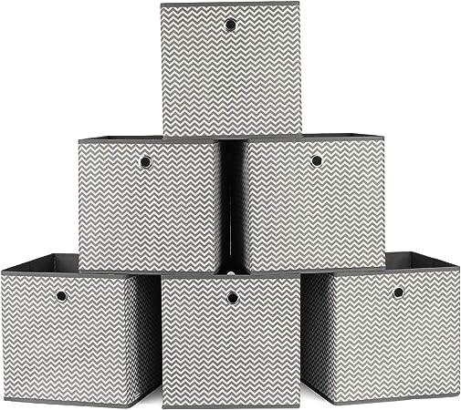 Homfa 6 Cajas Almacenamiento Tela Cajas Organizadores de Cajones para Ropas Interiores Calcetines Blanco y Gris 30x30x30cm: Amazon.es: Hogar