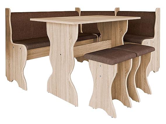 Erlenholz Tisch Esszimmer Sitzbank Erle, Peru 04 Farbauswahl Eckbank Gruppe besteht aus K/ücheneckbank 2X Hocker Eckbankgruppe Miki
