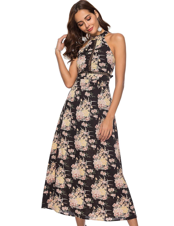 a4952a441 Hotiary Women Halter Maxi Dresses Floral Sleeveless Chiffon Split Vintage  Summer Boho Beach Party Long Dress at Amazon Women's Clothing store: