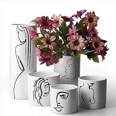 Modern Vases For Flowers Ceramic Minimalist Vase Modern Vase Set Wedding Flower Vase Set White Vase Set