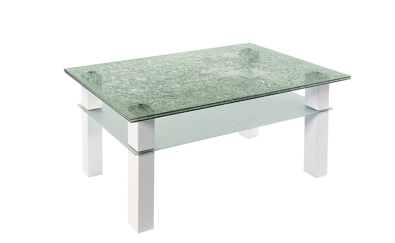 Agionda Crashglas Tisch Couchtisch Fancy Ii Beine Hochglanz Weiss