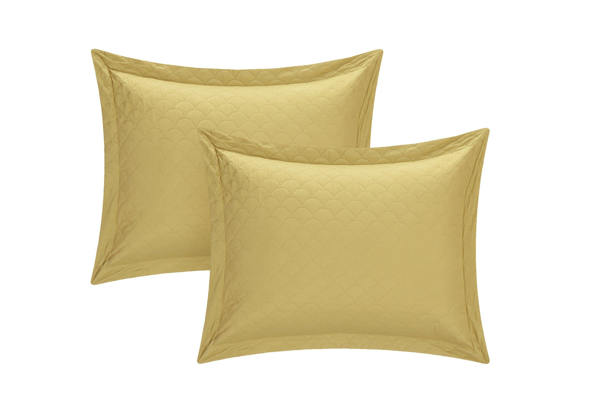 Chic Home 3 Piece Teresa Reversible Color Block Modern Quilt Set, Queen, Gold