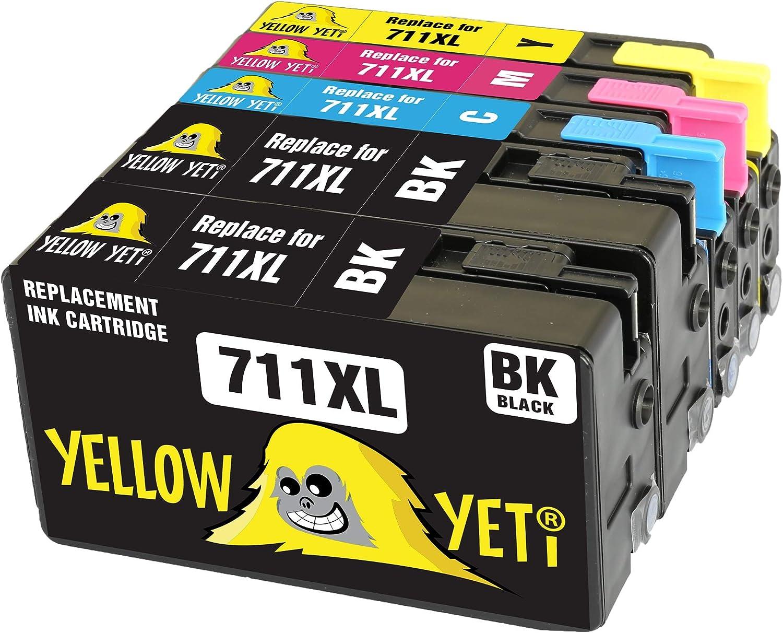 Yellow Yeti Reemplazo para HP 711 711XL Cartuchos de Tinta compatibles con HP DesignJet T120 T520 (2 Negro + 1 Cian + 1 Magenta + 1 Amarillo): Amazon.es: Electrónica
