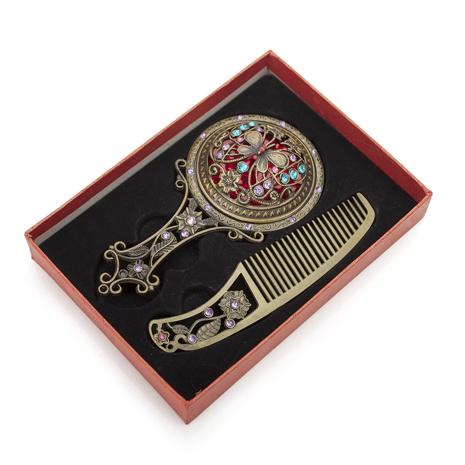 ALICE Antique Hand Mirror and Comb Set, With Gift Box, Silver or Bronze-Bronze