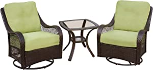 Hanover ORLEANS3PCSW Orleans 3-Piece Lounging Set, Includes 2 Swivel-Gliders 24-Inch End Table Outdoor Furniture, 24 x 24, Avocado Green