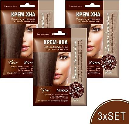 Juego de 3 cremas de henna con aceite de velcro, color iraní para el cabello, cosmética natural, listo para usar (moca)
