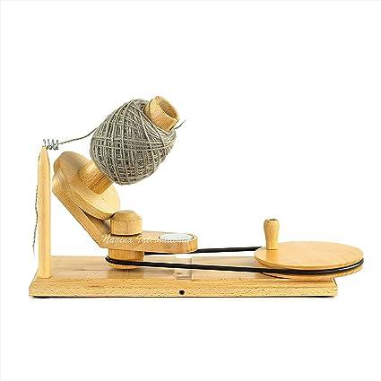 BiuZi 1Pc Metal and Plastic Household Knitting Thread Winder Hand Operated Yarn Fiber String Knitting Thread Ball Winder Holder Blue Handle Thread Ball Winder