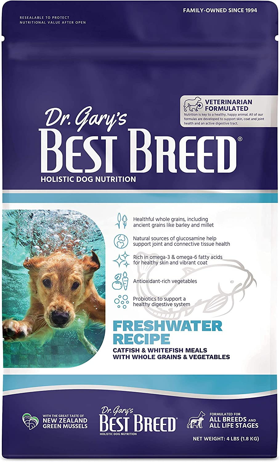 Dr. Gary's Best Breed Freshwater Recipe Made in USA [Natural Dry Dog Food for All Breeds and Sizes]