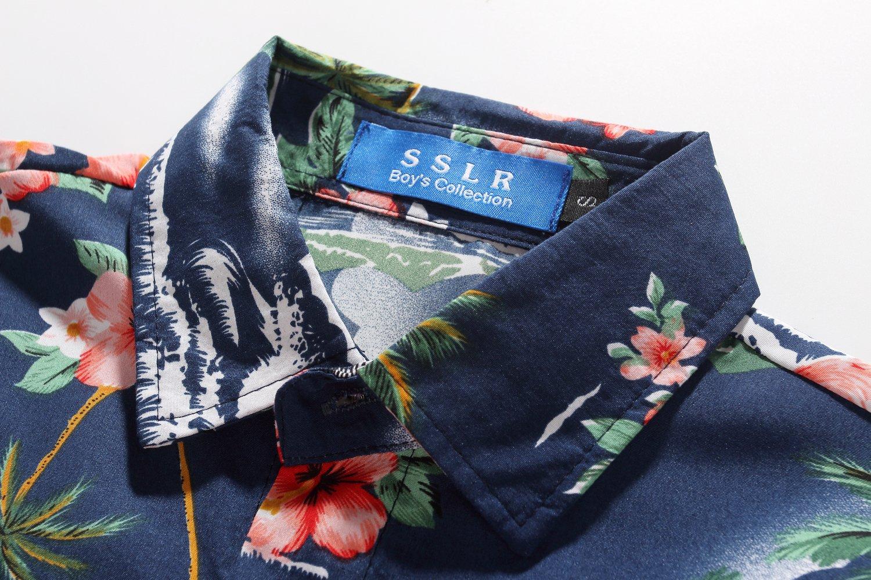 SSLR Big Boy's Flamingos Button Down Short Sleeve Aloha Hawaiian Shirt (Large(14-16), Dark Blue) by SSLR (Image #3)