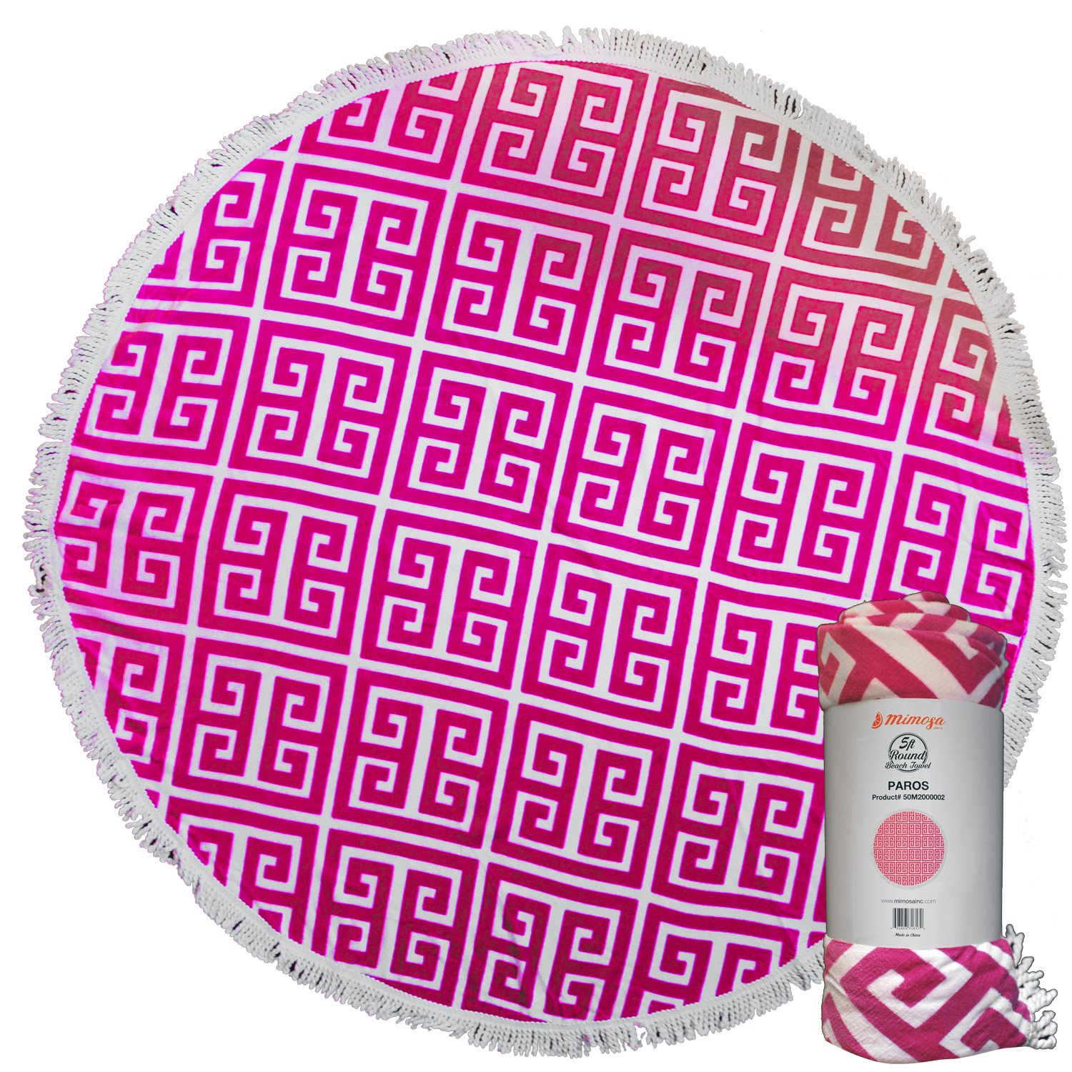 Mimosa Inc Round Beach Towel Patriot 5ft Pool Towel Ultra Plush 100/% Cotton Terry Velour Throw Mat With Thick Artisan Tassels Bright Colors Machine Washable Designed In California 50M2000001 11 Options