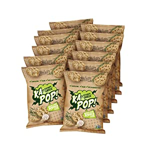 Ka-Pop! Popped Chips, Rosemary Garlic (1oz, Pack of 12) - Allergen Friendly, Ancient Grains, Gluten-Free, Paleo, Non-GMO, Vegan, Healthy, Whole Grain Snacks, As Seen on Shark Tank