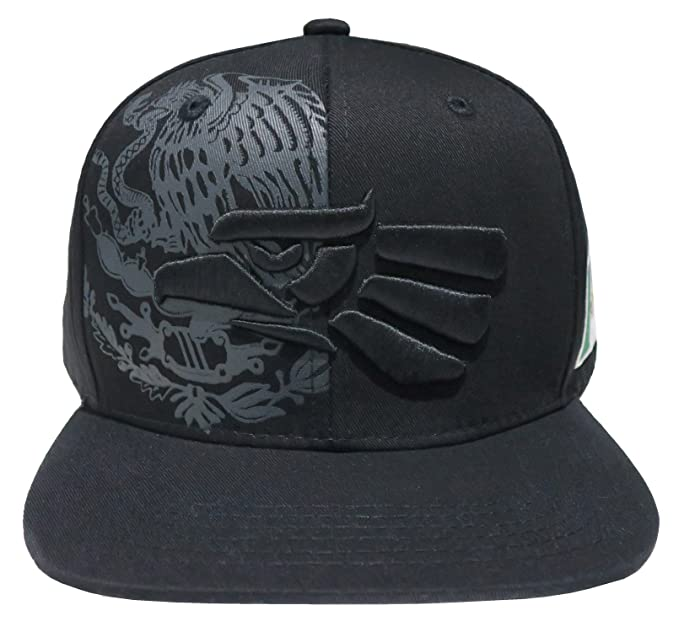 Leader of Generation Hecho En Mexico Mexican Eagle Embroidered Flatbill  Snapback (Black Black MEX04 b1c2c12ac21