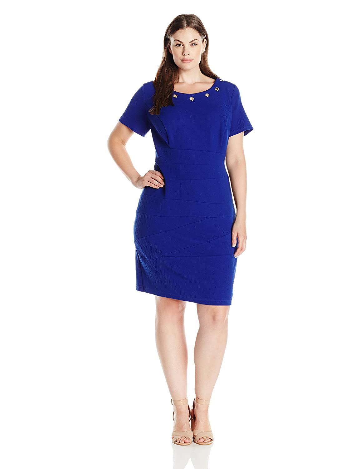 AGB Women's Plus Size Short Sleeve Dresss with Grommet Details