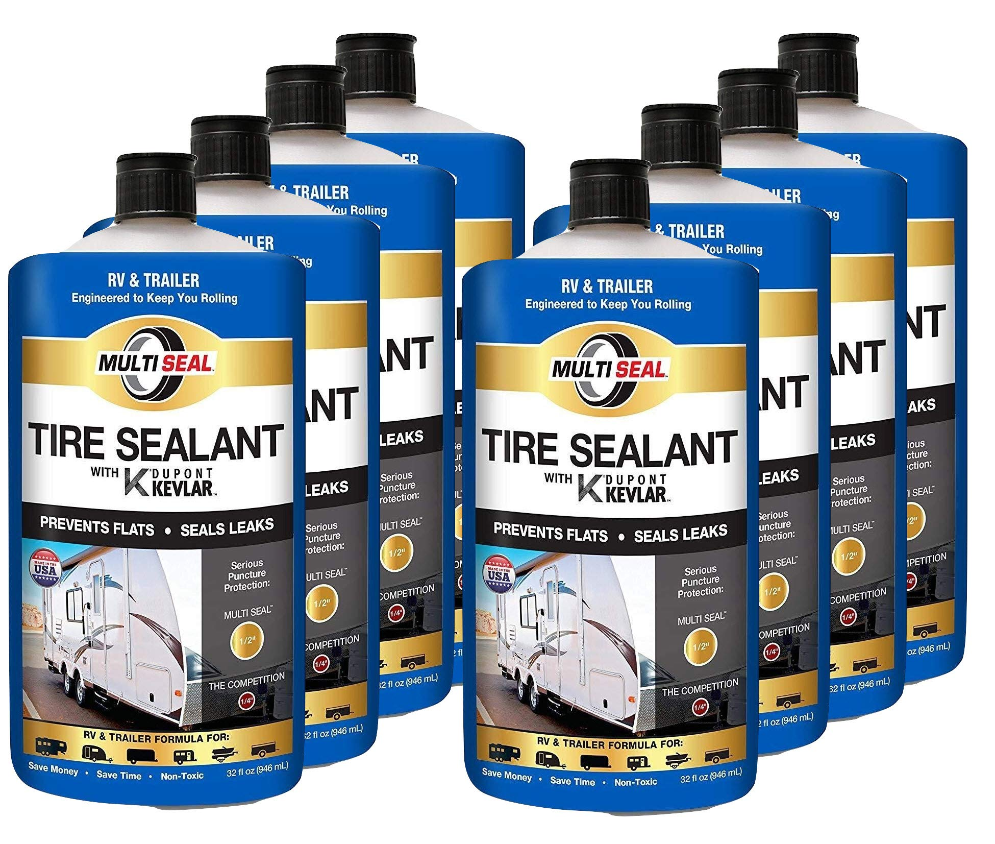 MULTI SEAL 20148 Tire Sealant with Kevlar (RV & Trailer Formula), Great for Travel Trailers, Boat Trailers, Horse Trailers, Toy Haulers, Cargo Trailers, Utility Trailers and more, 8-Pack (256 oz.)