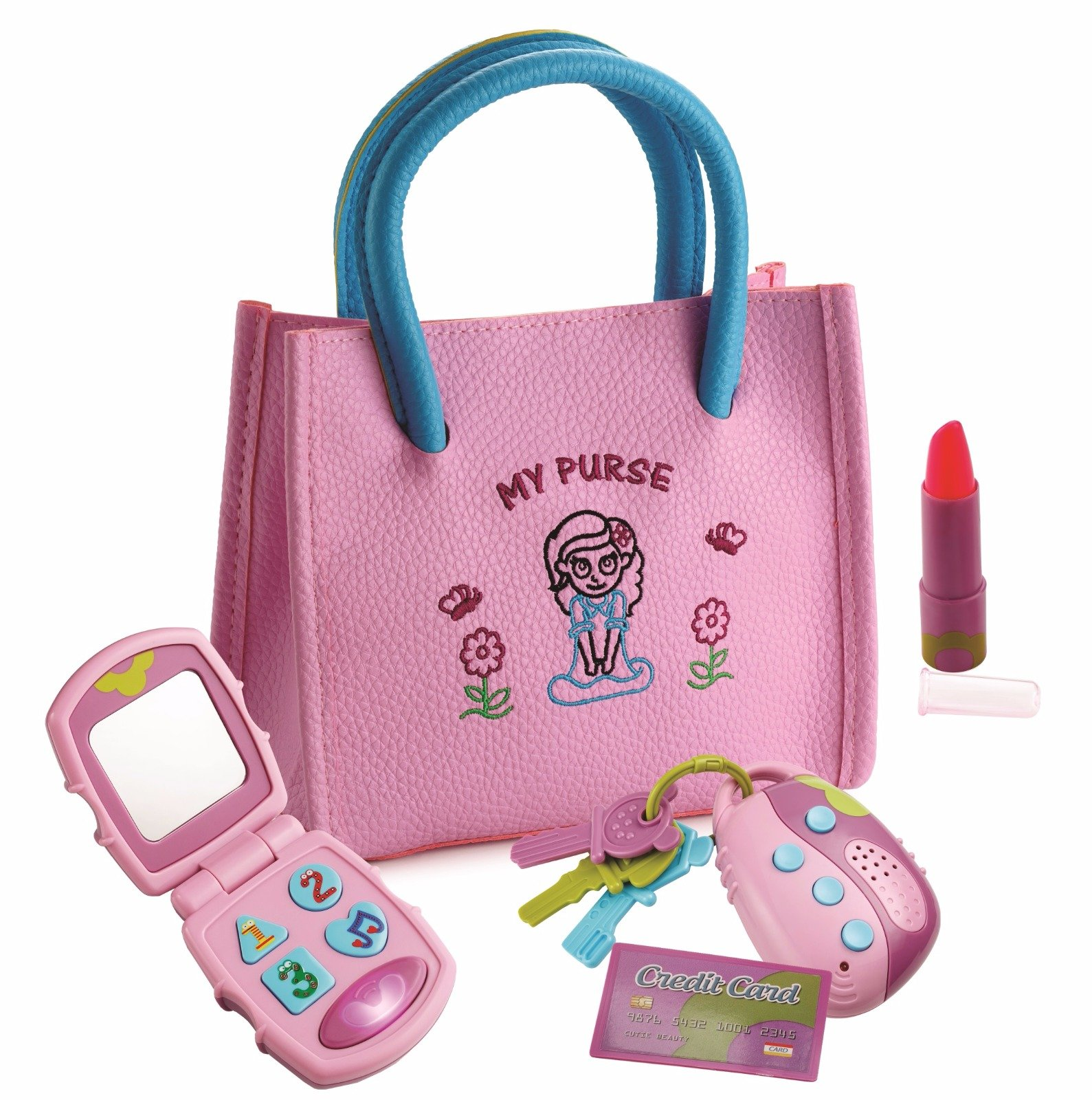 Playkidz My First Purse – Pretend Play Kid Purse Set for Girls with Handbag, Flip Phone, Light Up Remote with Keys, Play Lipstick & Kids Credit Card – Great Educational Toy for Fun & Learning