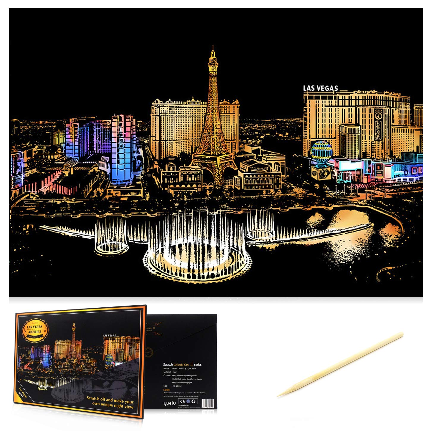 Size 11.2x16 Scratch Art Paper DIY Night View Scratchboard Wooden Stylus for Adult and Kids Venice Water