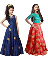 Market Magic World Girl's Blue & Orange Banglori Semi Stitched Combo Pack lehenga Choli, Salwar Suit, Gown (Kids Wear_Free Size_8-12 Year age)