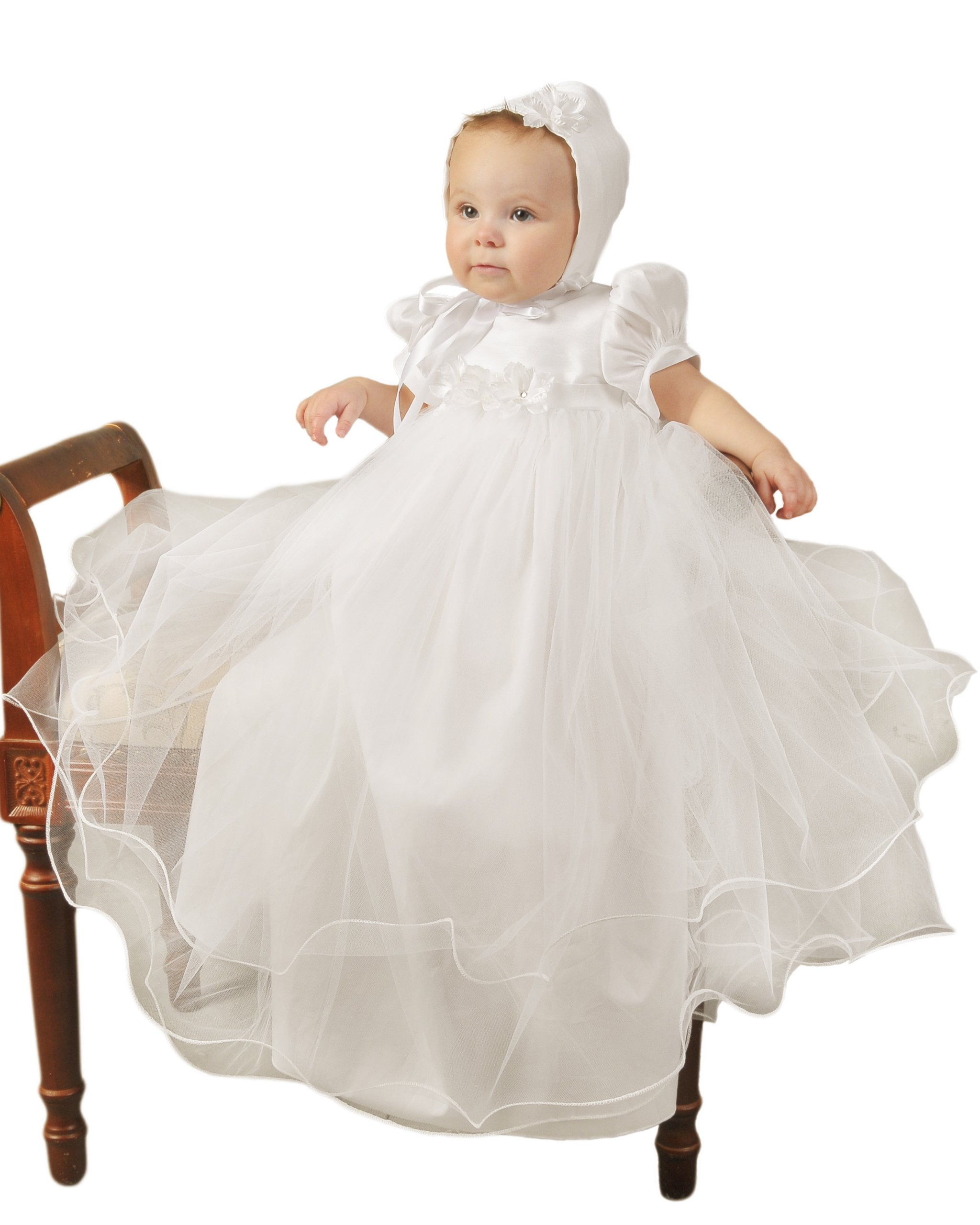 Shanna 3 Month Girls Christening Baptism Blessing Gowns for Girls, Made in USA by One Small Child