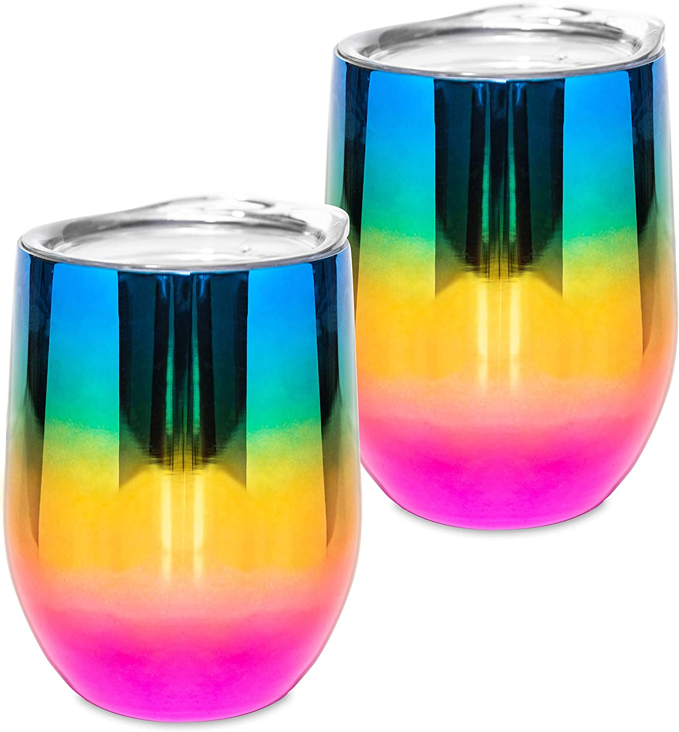 Wine Glass - Stainless Steel Tumbler with Lid – Double Wall Vacuum Insulated Cup - Keep Wine, Coffee, Beverage, Champagne, Cocktails colder or warm -12 oz- Set of 2