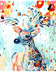 [Framless] Paint by Numbers Kits for Adults Children Seniors Junior Beginner Acrylics Diy oil Painting Kits - Painted Deer 16*20 inch