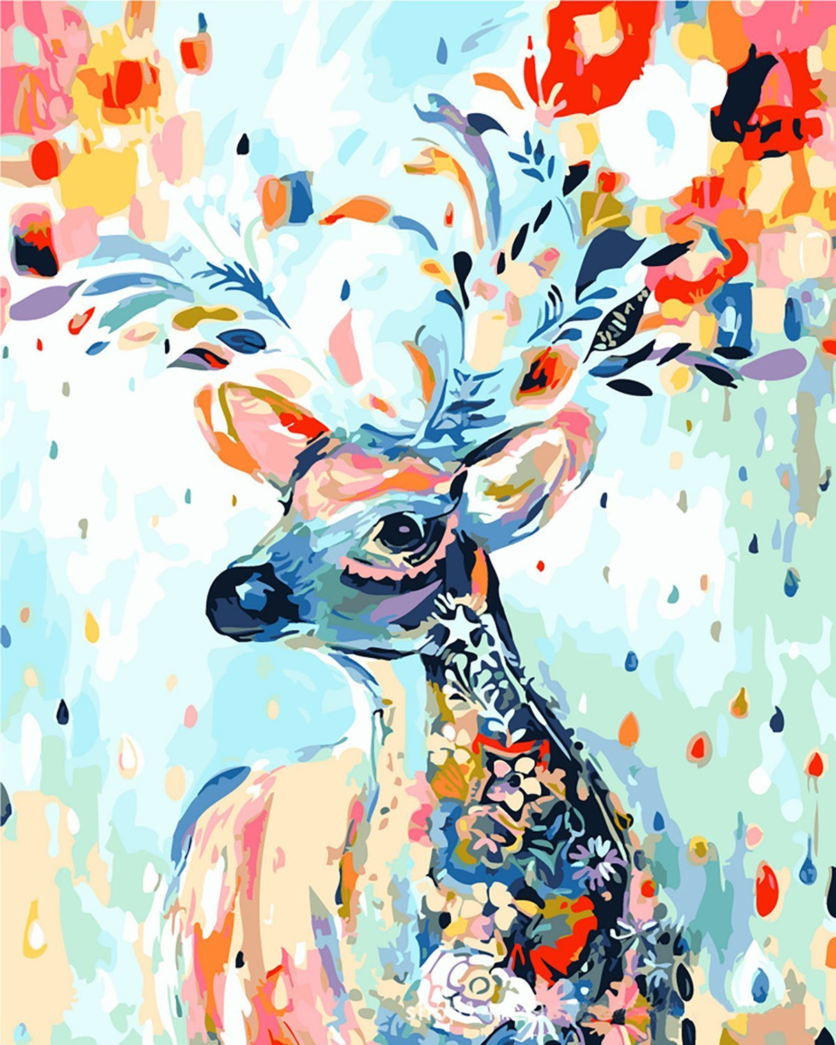 [Wooden Framed]Diy Oil Painting, Paint By Number Kits Home Decor Wall Pic Value Gift-Painted Deer 16X20 Inch
