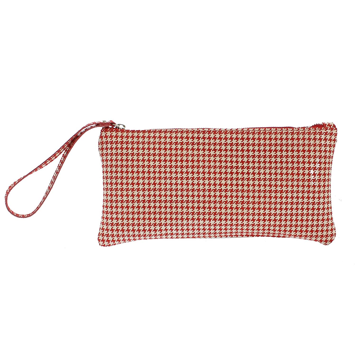 CTM Woman's clutch, small handbag with geometric patterns, italian genuine leather made in Italy 28x14x2.5 Cm