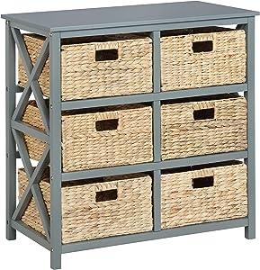 3 Tier X-Side Storage Cabinet with 6 Baskets (Grey)