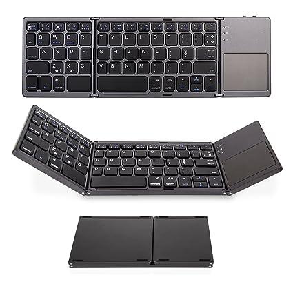 TabletHutBox® Teclado Bluetooth Plegable Teclado inalámbrico Teclado para iPhone X XS XS MAX iPad Pro