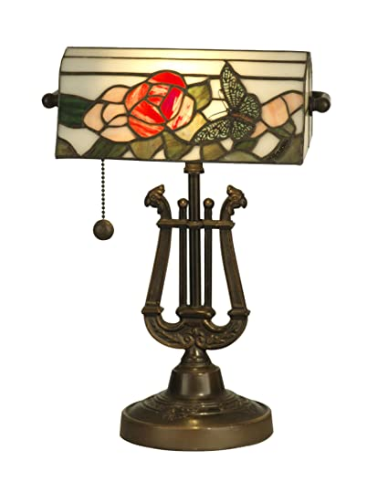 Dale Tiffany TT90186 Broadview Table Lamp, Antique Bronze And Art Glass  Shade