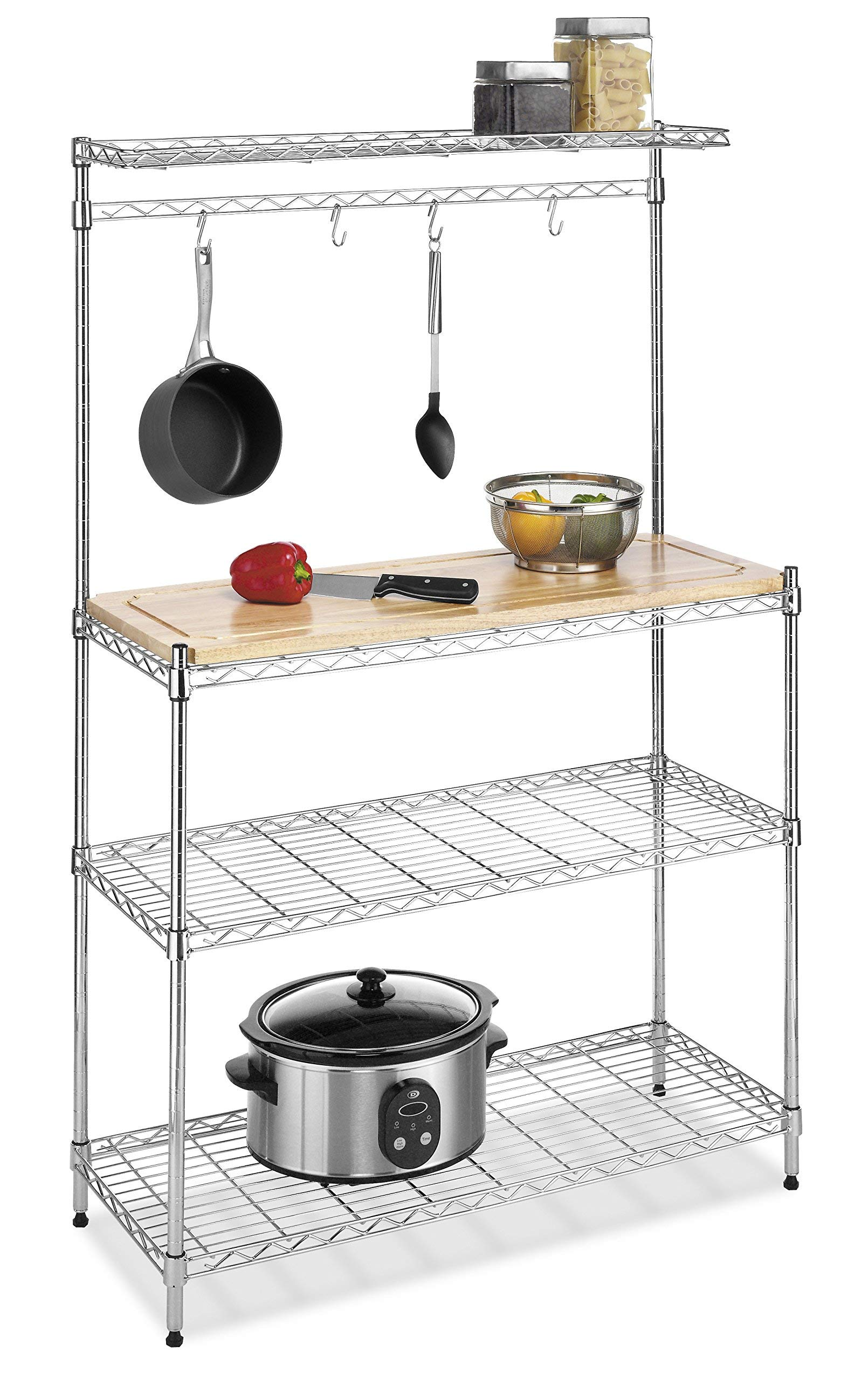Whitmor Supreme Baker's Rack with Food Safe Removable Wood Cutting Board - Chrome (Renewed) by Whitmor