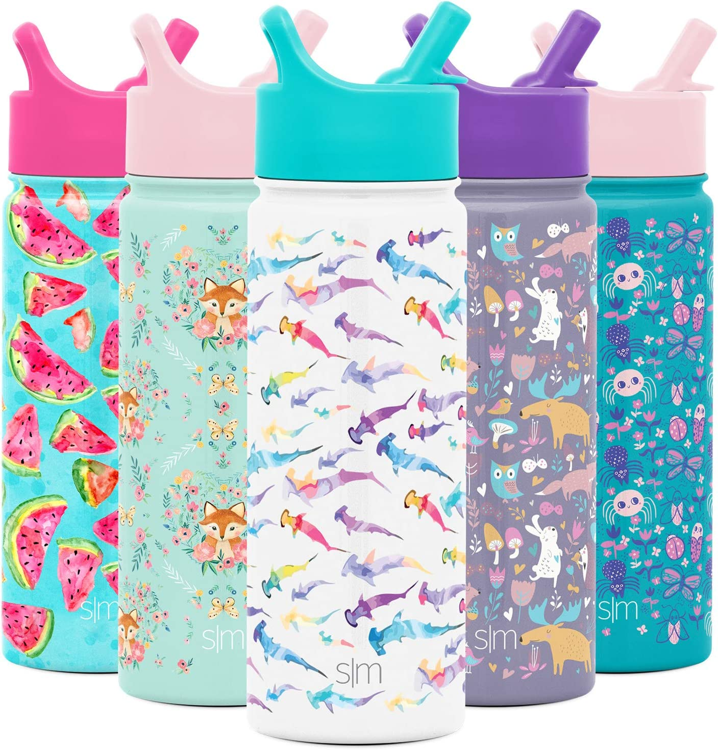 Simple Modern 18oz Summit Kids Water Bottle Thermos with Straw Lid - Dishwasher Safe Vacuum Insulated Double Wall Tumbler Travel Cup 18/8 Stainless Steel -Watercolor Sharks