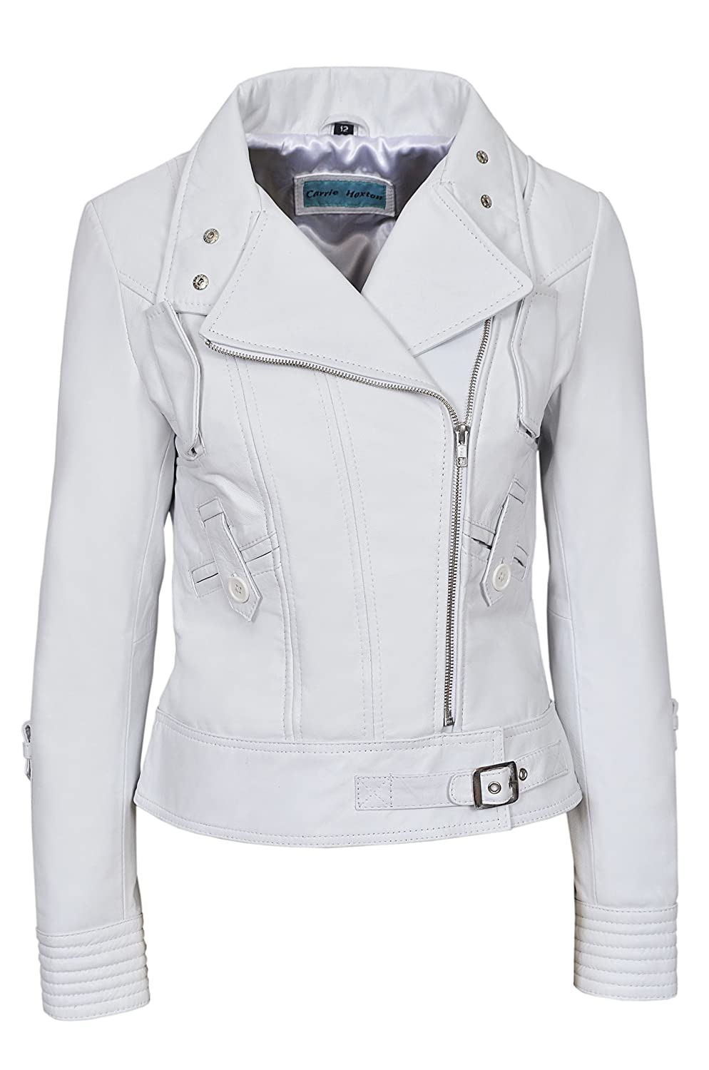Carrie CH Hoxton Ladies White 'Supermodel' Biker Style Designer 100% Real Napa Italian Leather Jacket 4110