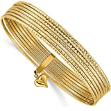 58c742e3d67f6 Amazon.com: 14k Yellow Gold Slip On 7 Bangles Bracelet Cuff ...