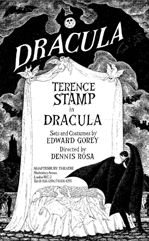 Edward Gorey'DRACULA' Terence Stamp/Bram Stoker 1978 London Opening Flyer