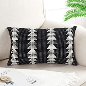 OJIA Decorative Lumbar Black and White Throw Pillow Cover, Boho Geometric Weave Pillow Cushion Case Sham for Sofa Chair Couch Bed (1, 12 x 20 inch)