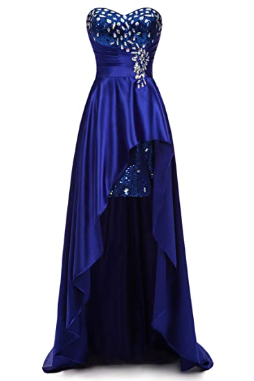 DMDS Womens Royal Blue High low Satin Crystal Party Dress Evening: Amazon.co.uk: Clothing