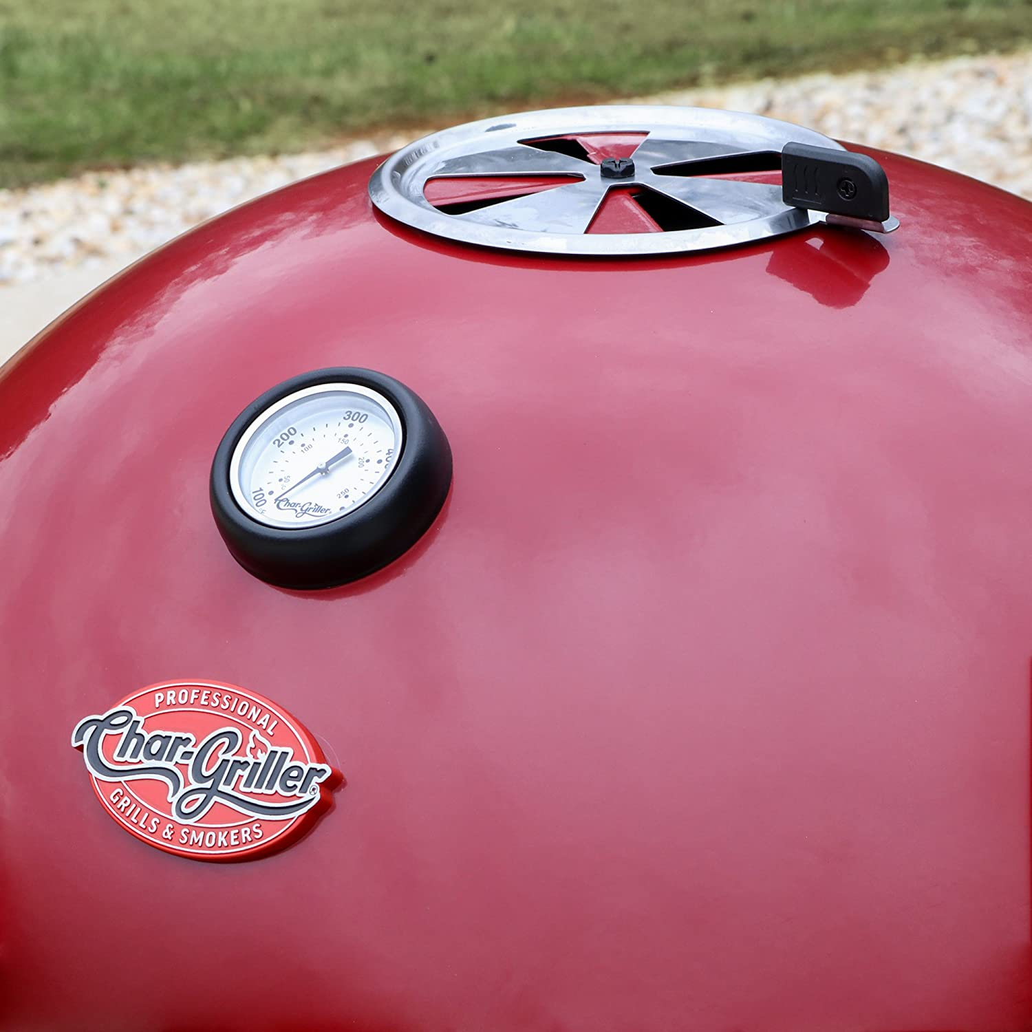 Char-Griller E14822 Premium Red Kettle Charcoal Grill and Smoker